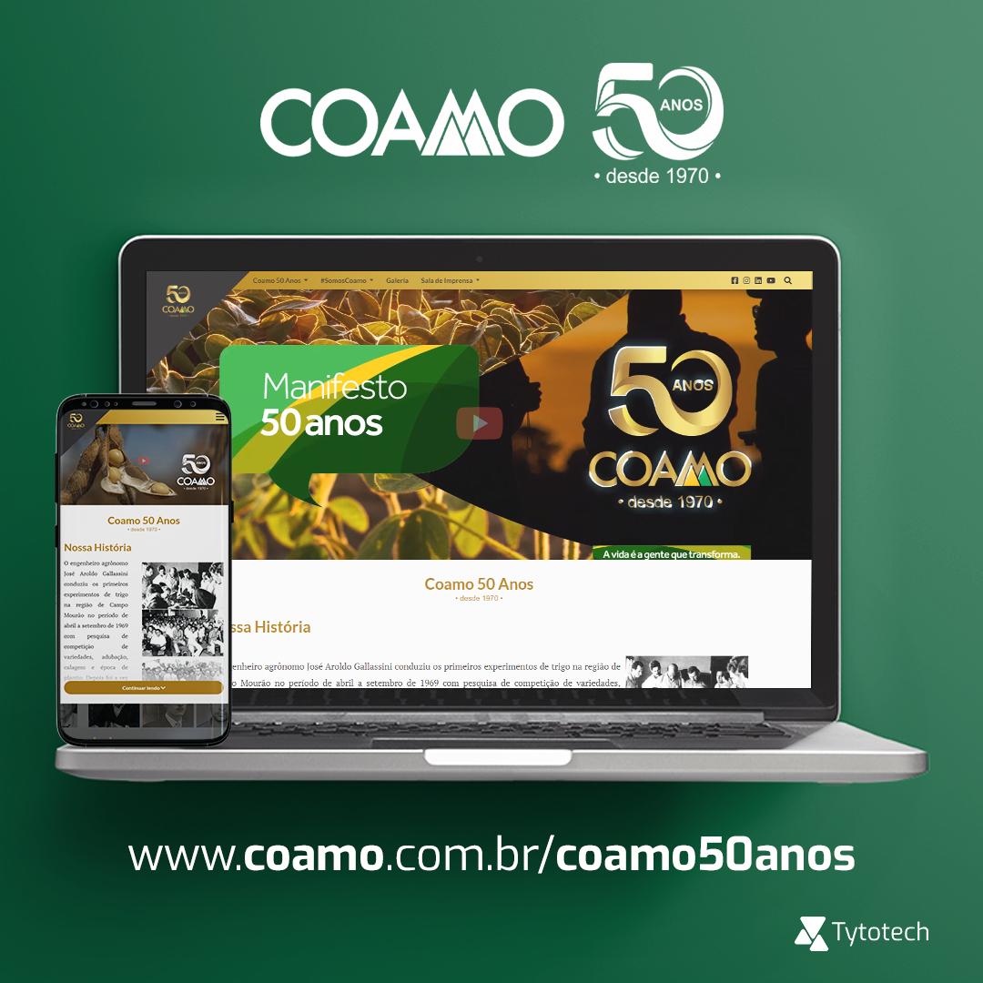 Com grande satisfação desenvolvemos o Hotsite Coamo 50 anos.