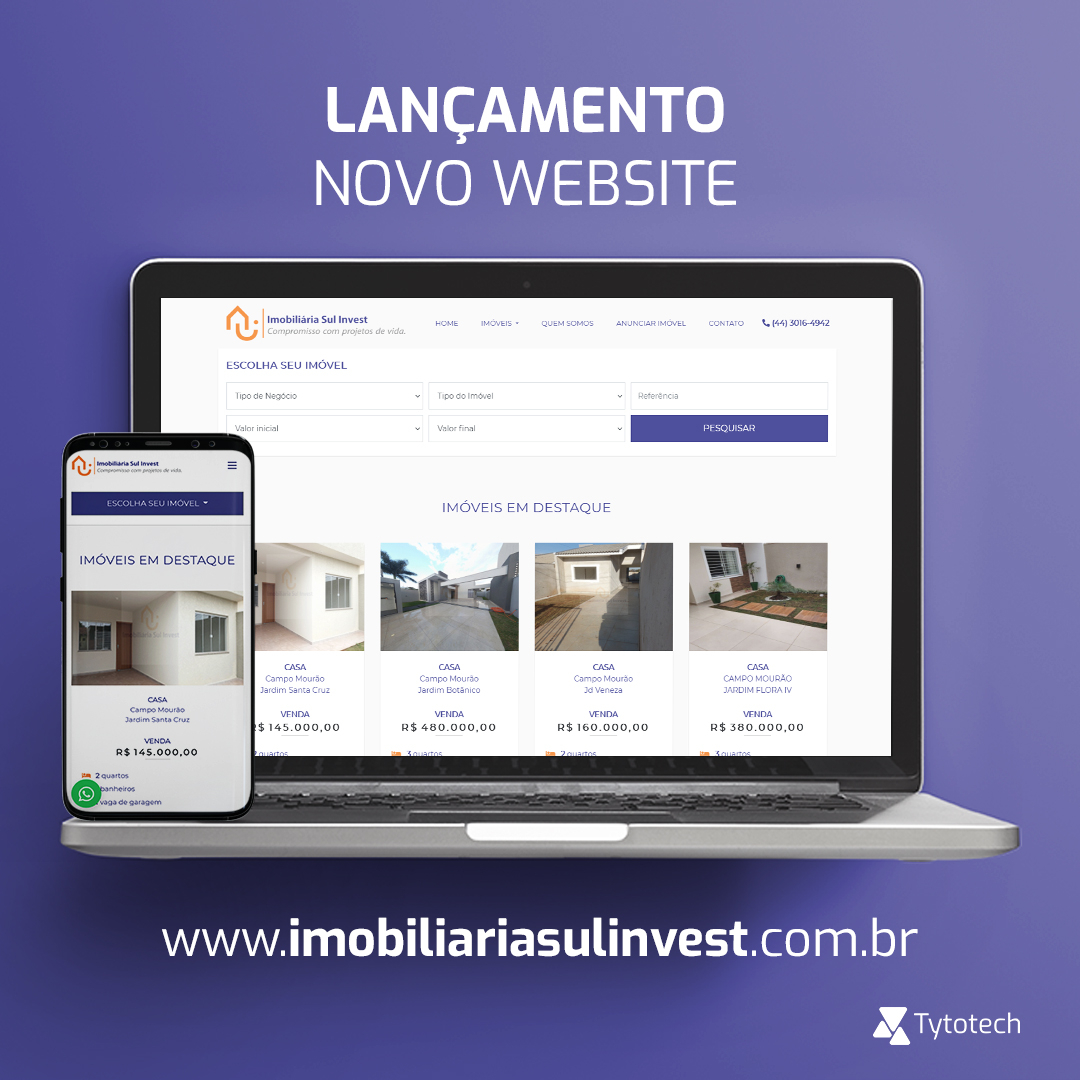 Lançamento novo website Imobiliária Sul Invest